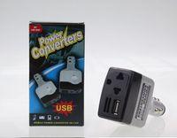 universal-wechselstrom-usb-ladegerät groihandel-Universal 2 IN 1 DC 12 V 24 V zu AC 220 V Auto Auto Power Converter Inverter Adapter Ladegerät Mit USB Ladegerät Buchse Feuerzeug Zigarette