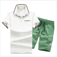 Wholesale Suits Teenager - New Arrival Summer Men's Sets Short Sleeve Polos T-shirts Pants Tracksuit Fashion Casual Mens Tops Trousers Teenagers Suit M L 2XL 3XL 4XL