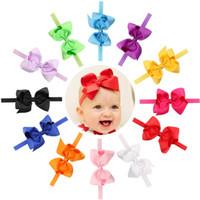 Wholesale handmade kids accessories - Baby Girls Elastic Grosgrain Ribbon 5inch Bow Headbands Children Handmade hairbands Kids Hair Accessories infant Princess Headdress KHA41