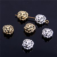 Wholesale Handmade Tibetan Beads Wholesale - Min order 30pcs Charms for Jewelry DIY Making Antique two color Tibetan Leone Lion Head Beads Spacer BeadJewelry Handmade Making Z9014