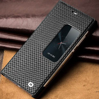 Wholesale Iphone Window Flip - Free Shipping Smart View Flip Genuine Leather Window Case Cover for Huawei Ascend P8 with Sleep Wake Up Function