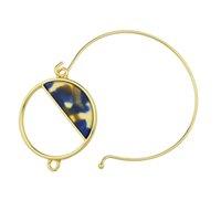 Wholesale Purple Bangle Bracelets - New Acrylic Round Shape Gold-Color With Purple Leopard Beige Blue Color Stone Bracelets and Bangles For Women