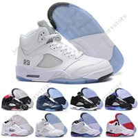 Retro 5 V mens Basketball Shoes METALLIC SILVER Botas de atletismo de homens brancos Retro 5s Sports Sneaker Jumpman Casual Trainers Fashion Training