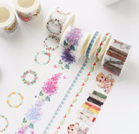 ¡Venta al por mayor 2016 20Designs 2017NEW !! Flores / Niñas / Pastel / Gato / Libro Patrón Japanese Washi Adhesivo Decorativo DIY Masking Paper Tape Sticker