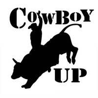 Wholesale Horses Farms - 14.5CM*13.9CM Cowboy Up Country Horse Cowboy Farm Bull Riding Decal Sticker Car Styling Sticker Accessories JDM