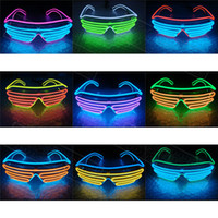 Wholesale Sunglasses Battery - Simple EL Glasses Wire Fashion Neon LED Light Up Shutter Shaped Glow Sun Glasses Rave Toy Costume Party DJ Bright SunGlasses With Battery