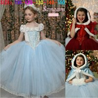 Wholesale Cinderella Girl Party Princess Dresses New Movie Ruffle Kids Clothing Blue Baby Girls Dress with Cloak