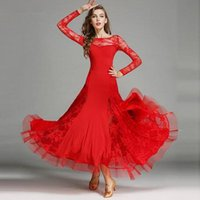Wholesale Modern Dance Dress Costumes - Women Dance Dress Standard Ballroom Competition Dresses Costumes For Women Ruffle Tango Waltz Dancewear 2017 Lace Modern Dance Dress FN152