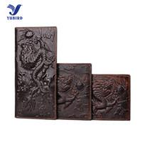 Wholesale dragon card holder - Wholesale- 3D Animal Print Genuine Cowhide Leather Men's Wallet Brand Vintage Purse Long Wallet Alligator Dragon Card Holder Short Wallets