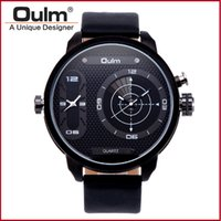 Wholesale Watch Dispaly - OULM 3221B Casual Men's Watch Quartz Movement Big Dial Case Analog Dispaly Two Time Zone Leather Strap Fashion Luxury Watches For Mens