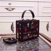 Wholesale Embroidered Leather Shoulders Bags - Top Grade Lady Shoulder Bag Luxury Brand Dollce Box Black Lace Leather-trimed Clutch Cartoon Embroidery Embellished Sequin Women Handbag