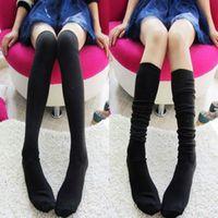 Wholesale Womens Long White Socks - Wholesale-New Sexy Fashion Girls Womens Lady leggings Thights High OVER Knee Socks Soft Long Cotton Stockings