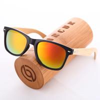 Wholesale Gift Box Sunglasses - 2016 New Handmade Polarized Wood Bamboo Sunglasses Men Women Brand Designer Plastic Bamboo Leg Sunglasses With Bamboo Box gift