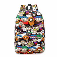 Wholesale College Korean Backpack - Wholesale- Casual South Park Cute Cartoon Women Canvas Backpacks Graffiti Student Bookbag College High School Daily Backpack For Teenagers