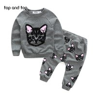 Wholesale Girls White Thick Sweater - Wholesale- Children Sweater Girls Clothing Sets Thick Warm Sport Suit Kids Winter Long T shirt+Pants Hot Sale girls clothes set
