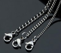 """Wholesale Thin Stainless Steel Necklace Chain - Width 1.0mm 1.5mm 1.8mm 2.0mm 2.5mm 3.0mm 3.5mm 4.5mm Shinny 316L Stainless Steel Small Size Thin Tiny Curb Chain Necklace (18""""-22"""" inches)"""