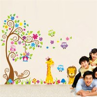 Wholesale Giraffe Horse - Creative DIY wall sticker horse for kids room Carved Removable kindergarten stickers cute Owl giraffe lion pvc home decor 2017 Wholesale