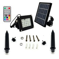 Wholesale 5pcs N510G V W Solar Panel Power Solar LED Floodlight Lamp Remote Control RGBW Outdoor Garden Square Spotlight