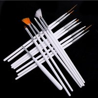 Wholesale 15pcs Professional Acrylic Nail Art Brush Set Design Painting Dotting Pen White Pink Nail Art Brushes Pen for Gel Polish False Nails