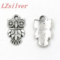 Quente! 100pcs Antique Silver Alloy Single-sided Owl Charm Pendant 11.5 x20mm DIY Jewelry