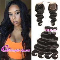 Wholesale Bodywave Hair Weave - Real Brazilian Body Wave Hair with Closure 5 Pcs Lot Soft Virgin Brazilian Hair 4 Bundles with Closure 4x4 Brazilian Bodywave Weaves Closure