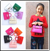 Wholesale Fashion Hangbags - New Candy Color Kid handbag Fashion PU Leather Messenger Bags Kids Girl Tote Baby Design Handbags Children bag Designer Child Purse KW-BA140