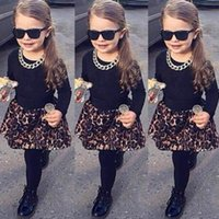 Wholesale Skirts Leggings Leopard - Wholesale- 2pcs sets Spring Autumn Kids girls clothes long sleeve T-Shirt + Leopard Skirt With Leggings Outfits Suit