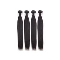 24 inch hair weave al por mayor-Brasileño Recto Cabello Humano 8-30 Pulgadas Al Por Mayor 4 Paquetes Pelo Virginal Color Natural 10a Grado 100g Extensión de la Armadura del Pelo Virginal