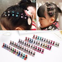 Wholesale Small Hair Claw Clips - 100pcs  Alloy clip crab claw headdress hair accessories baby child diamond plate hair styling hair caught small gripper mini plum