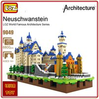 Construcción De Piedra Baratos-6800 unids LOZ 9049 Diamond Blocks Neuschwanstein DIY juguetes de construcción Swan Stone Castle World Building Building Blocks educativos para niños regalos