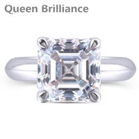 Wholesale Diamond Asscher Cut - Queen Brilliance 2 ctw Asscher Cut Lab Grown Moissanite Diamond Engagement Ring Wedding Ring Solid 14K 585 White Gold For Women q171026