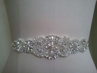 Satin Rhinestone 200cm Crystal Pearl Wedding Belt Skinny Bridal Sash 29cm Of Rhinestones Ribbons