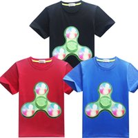 Wholesale Soft Cotton Boys Shorts - INS Newest Summer Short Sleeve T-shirt Fidget Spinner Printed Tees Soft Cartoon Tops Boys Girls Clothes