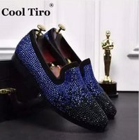 Wholesale Smoking Shoes - COOL TIRO Black Blue strass Rhinestones Loafers Men Flats Smoking Slippers Slip-on Loafers Wedding Party Suede Dress Shoes