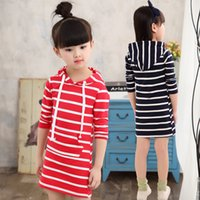 Wholesale Red Full One Piece Dress - red and navy 2 colors blackids one-piece dress strip baby cotton frocks girls long sleeve dresses with hooded