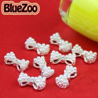 Wholesale Nail Pearls Tied - Wholesale-BlueZoo 10pcs pack 3D White Alloy Faux Pearl Rhinestone Bow Tie Decoration AB Clear Red Rhinestone Nail Art Decoration 13mm*6mm