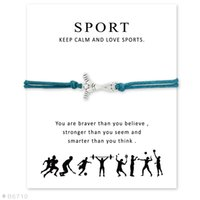 occident sports greeting cards - Greeting Cards Silver Ice Hockey Sports Charm Bracelets Bangles for Women Girls Adjustable Friendship Statement Jewelry with Card