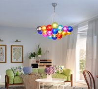 Wholesale Purple Lamps For Bedroom - Colorful Glass Ball Lamp G4 LED Pendant Lights 110V 220V Creative Design Lighting Fixtures for Home Deco Bar Coffee Living Room LLFA