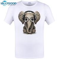 Men organic headphones - Cute Baby Elephant Dj Wearing Headphones and Glasses New Design Mens T shirt Novelty Men Tops Cool Tee Plus Size