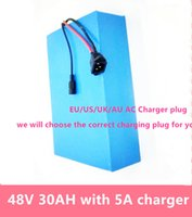 Wholesale Battery Electric Bike 48v - Free shiping 48V 30ah 1500W 48v motor battery Electric bike Lithium battery 48V 30AH bicycle battery Cell and free 30A BMS 54.6V 5A Charger