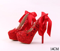 Wholesale Lace Toast - New fashion red lace sequins bride shoes high with fine with picture taken toast wedding shoes women's shoes