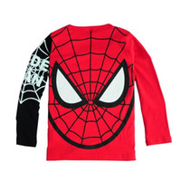 Wholesale T Shirts Boys Spiderman - Autumn Winter Cotton Kids T Shirt Spiderman Long Sleeve Baby Boys Girls T-Shirt Children Pullovers Tee Boys Clothes