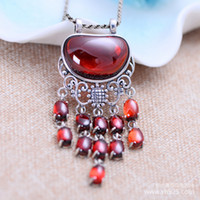 Wholesale S925 Jade Pendant - Silver S925 silver jewelry garnet fringed Jeweled pendant jewelry exaggerated beautiful female free shipping