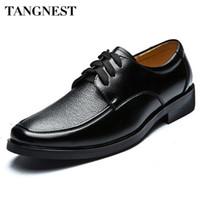 Wholesale Oxford Shoes British - Wholesale-Tangnest Hot Sale Men's Business Shoes Male British Style PU Leather Dress Shoes Casual Lace Up Oxfords Flats Man XMP049