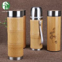 All'ingrosso - Bamboo Stainless Steel Vacuum Flask Eco-Friendly Tè Drinkware Inverno Water Coffee Vacuum Bottle 2016 NUOVO Fashiion Thermos FlasK