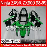 Wholesale Ninja Zx9r 1998 - 8Gifts 23Colors For KAWASAKI NINJA ZX 9 R ZX9R 98 99 00 01 900CC 48HM4 Green black ZX 9R ZX900 ZX900C ZX-9R 1998 1999 2000 2001 Fairing kit