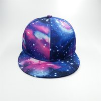 Wholesale Women Galaxy Space - Fashion Unisex Printing Starry Sky Baseball Cap Flat Brim Women Summer Hip hop Hat Men Galaxy Space Gorras Snapback Hats