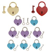 Wholesale Vintage Heart Shape Padlock w Key Tiny Suitcase Crafts Lock Set For Jewelry Boxes