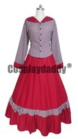 bürgerkrieg kleid xxl großhandel-Civil War Cosplay Kostüm viktorianischen Tartan Abendkleid Red Dress H008
