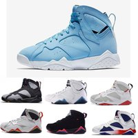 Wholesale Cheap Hot Shoes Online - 2017 Cheap Air Retro 7 French blue basketball shoes Raptor Hares Bordeaux Olympic sport sneaker shoes,For online hot sale us size 8-13